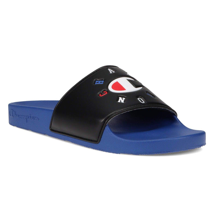 Champion Men's IPO Circular Logo Slide Sandal - Black/Surf The Web/Scarlet
