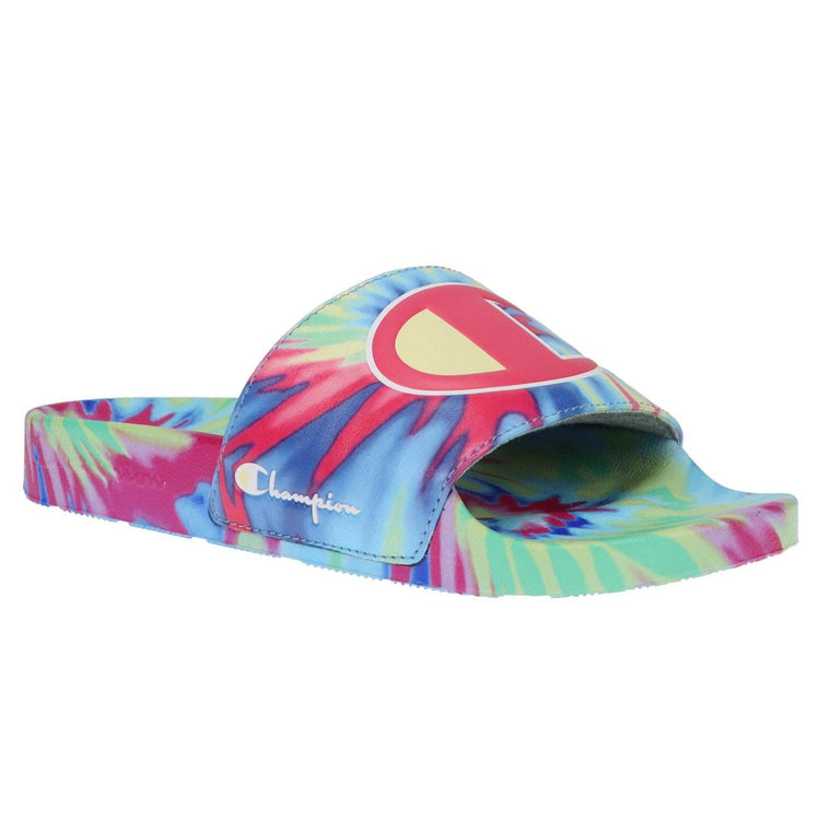 Champion Women's IPO Tie Dye Logo Slide Sandals - Pink/Light Yellow/Multi