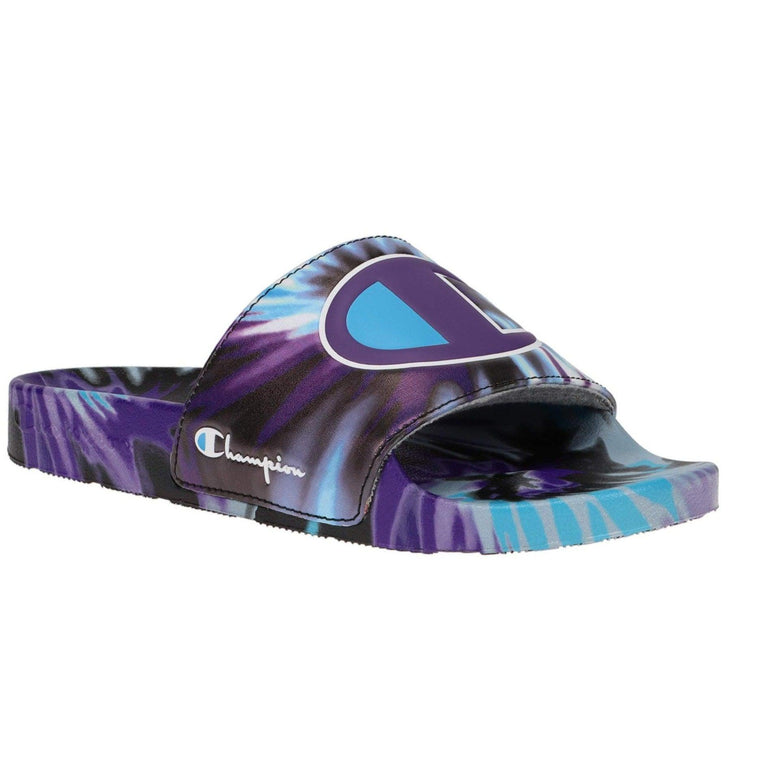 Champion Women's IPO Tie Dye Logo Slide Sandals - Black/Purple/Teal