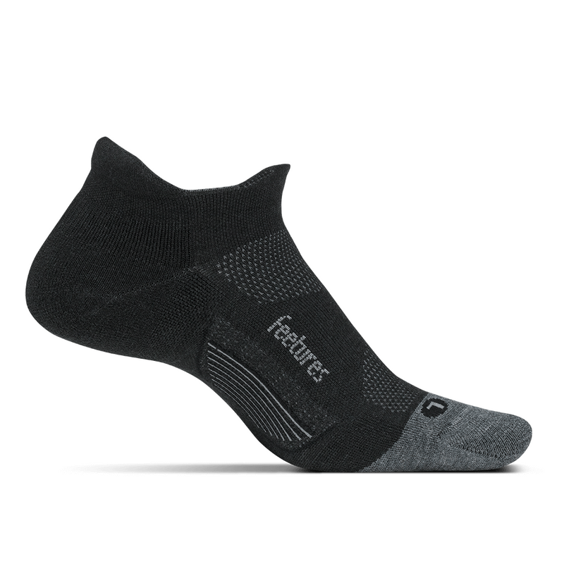 Feetures Merino 10 Cushion No Show Tab Socks - Charcoal