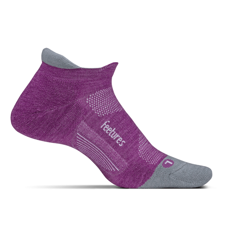 Feetures Merino 10 Cushion No Show Tab Socks - Ruby