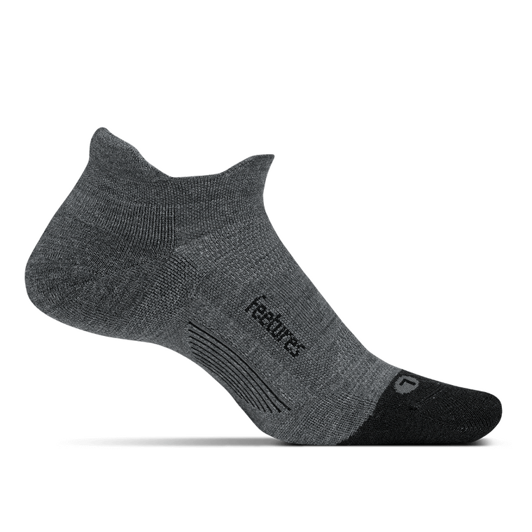 Feetures Merino 10 Cushion No Show Tab Socks - Gray