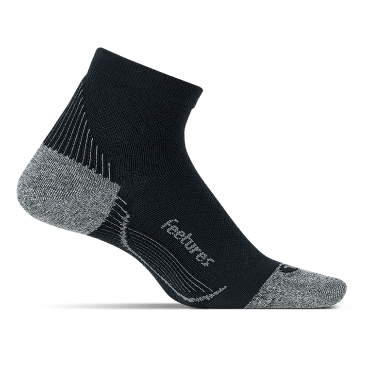 Feetures Plantar Fasciitis Relief Sock Light Cushion Quarter - Black