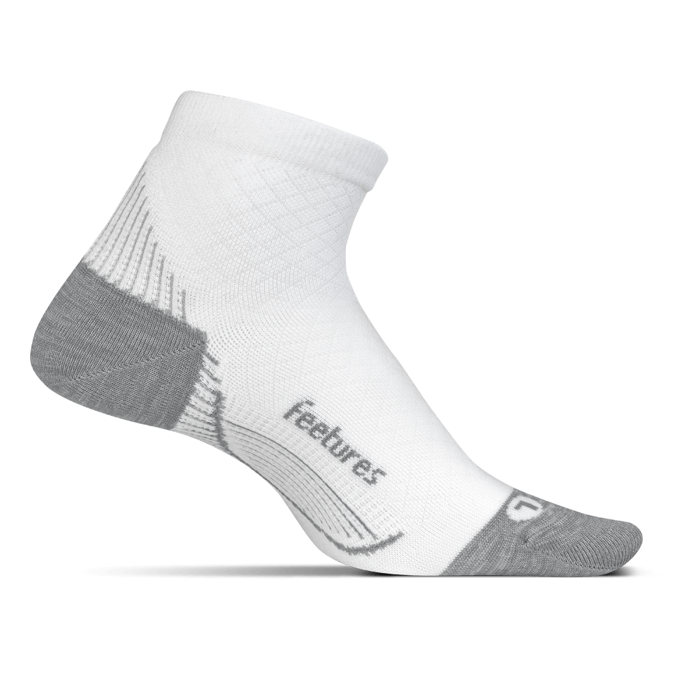 Feetures Plantar Fasciitis Relief Sock Ultra Light Quarter - White
