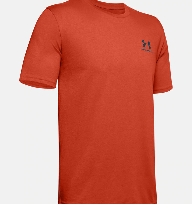 Under Armour Men's UA Sportstyle Left Chest Short Sleeve Shirt - Rich Orange/Mechanic Blue