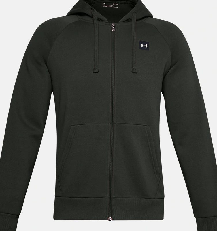 Under Armour Men's UA Rival Fleece Full Zip Hoodie - Baroque Green/Onyx White