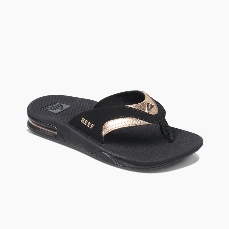 Reef Women's Fanning Flip Flops - Black/Rose Gold