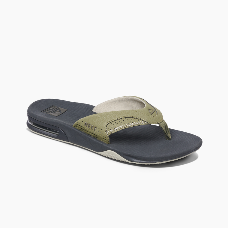 Reef Men's Fanning Bottle Opener Flip Flops - Deep Olive