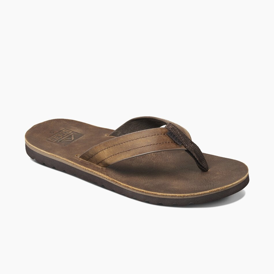 Reef Men's Voyage LE Leather Flip Flops - Dark Brown