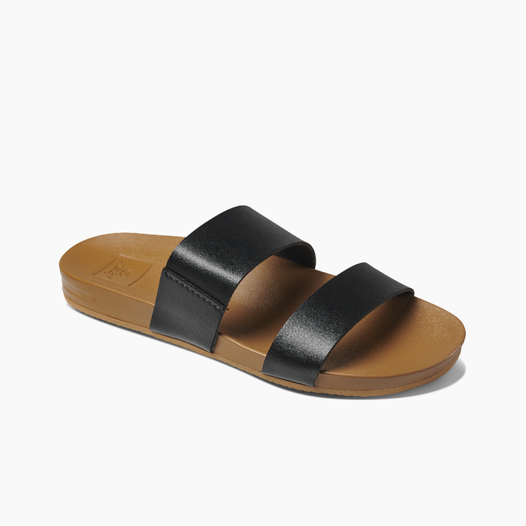 Reef Women's Cushion Bounce Vista Slide Sandals - Black/Natural