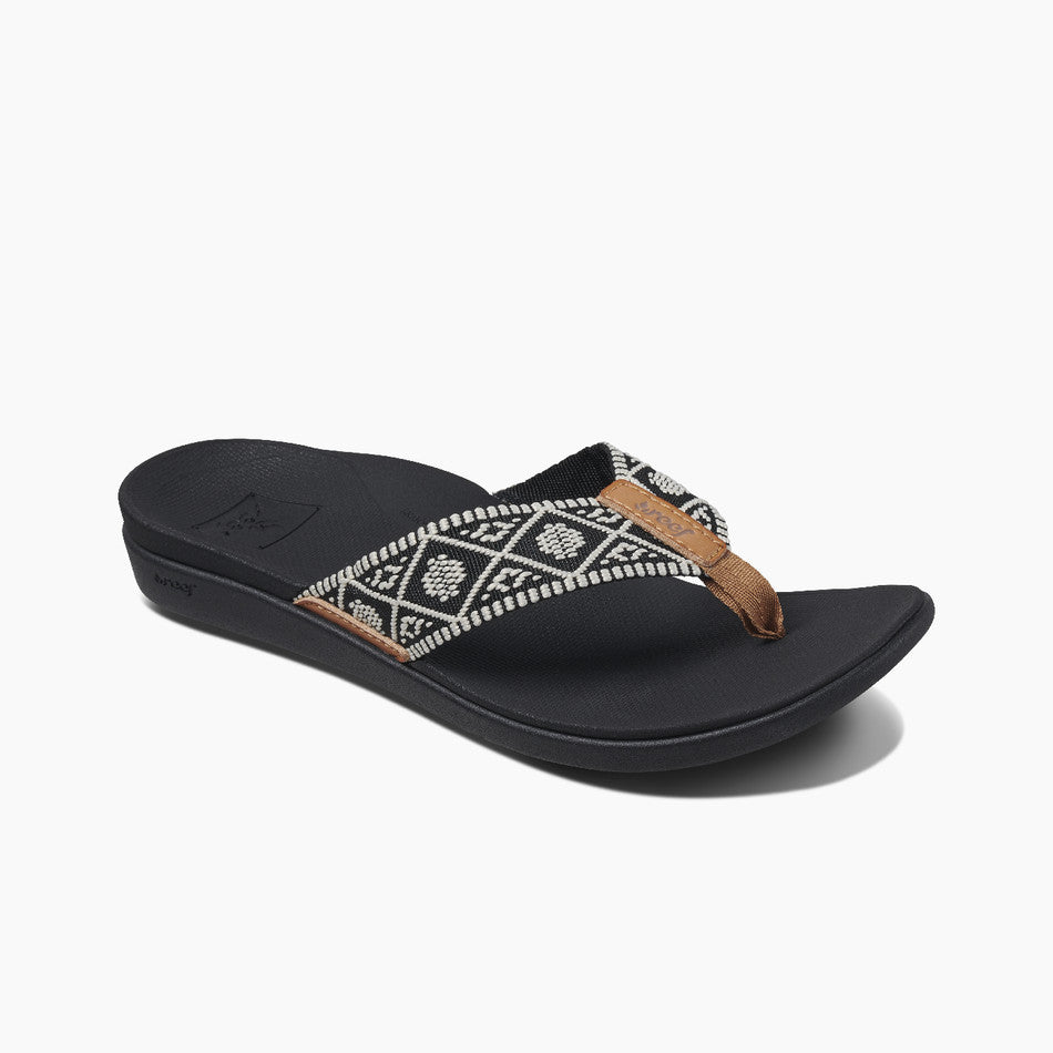 Reef Women's Ortho Woven Sandal - Black/White