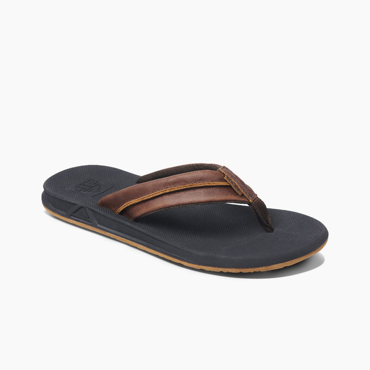 Reef Men's Leather Element TQT Sandal - Black/Brown