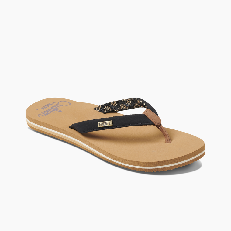 Reef Women's Cushion Sands Flip Flops - Black/Tan