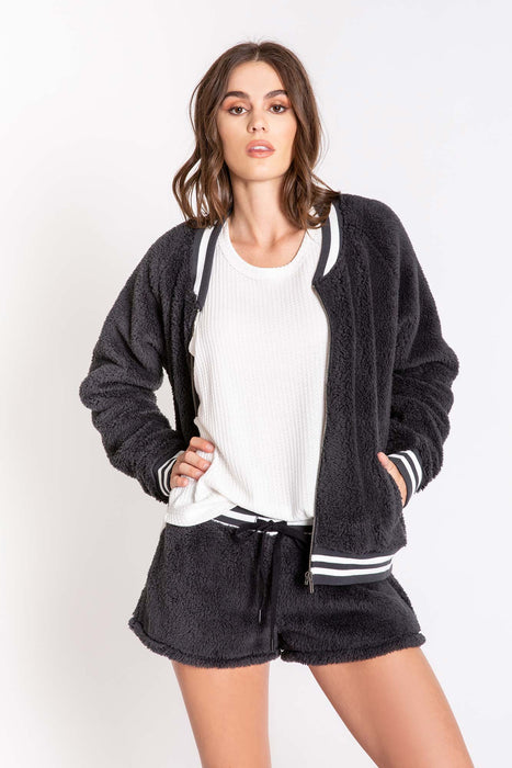 Women's PJ Salvage Bomber Babe Jacket - Charcoal