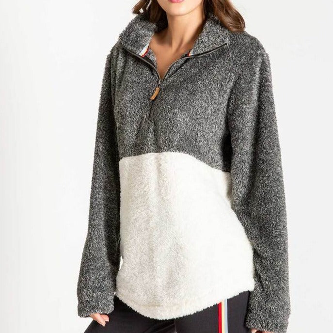 Women's PJ Salvage Cozy Zip Long Sleeve Pull-Over - Ivory