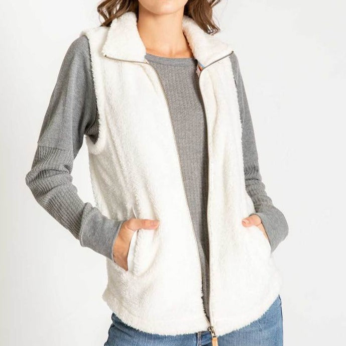 Women's PJ Salvage Cozy Zip Vest - Ivory