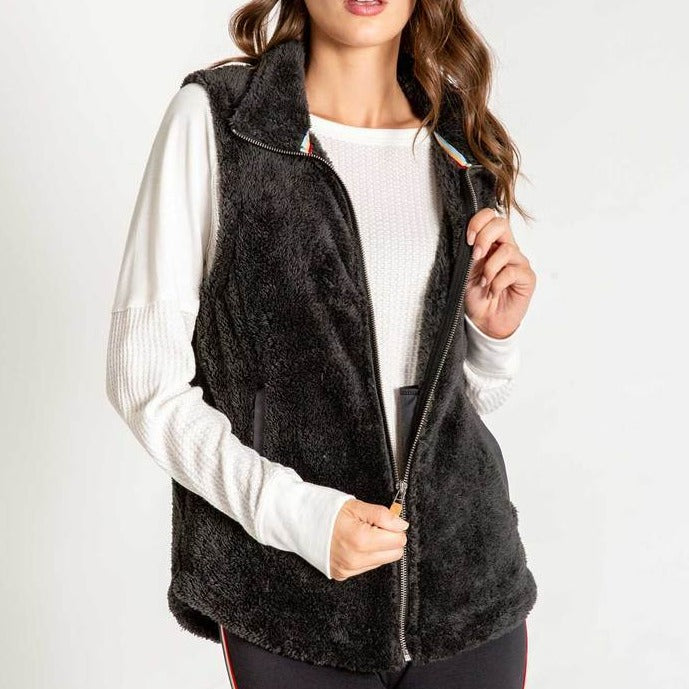 Women's PJ Salvage Cozy Zip Vest - Slate