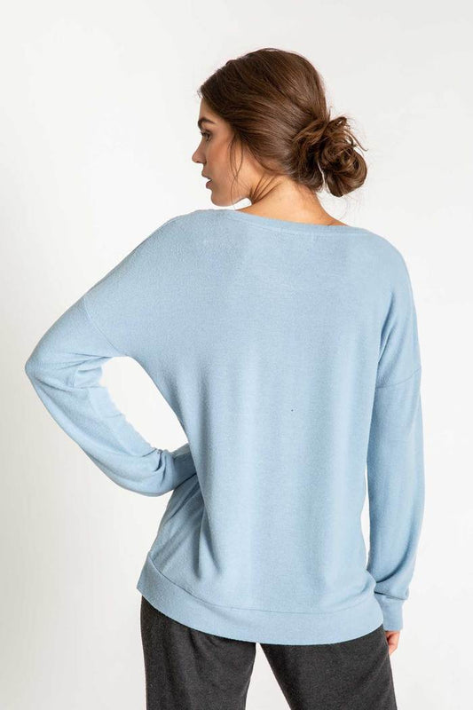 Women's PJ Salvage Gone Napping Long Sleeve Top - Denim