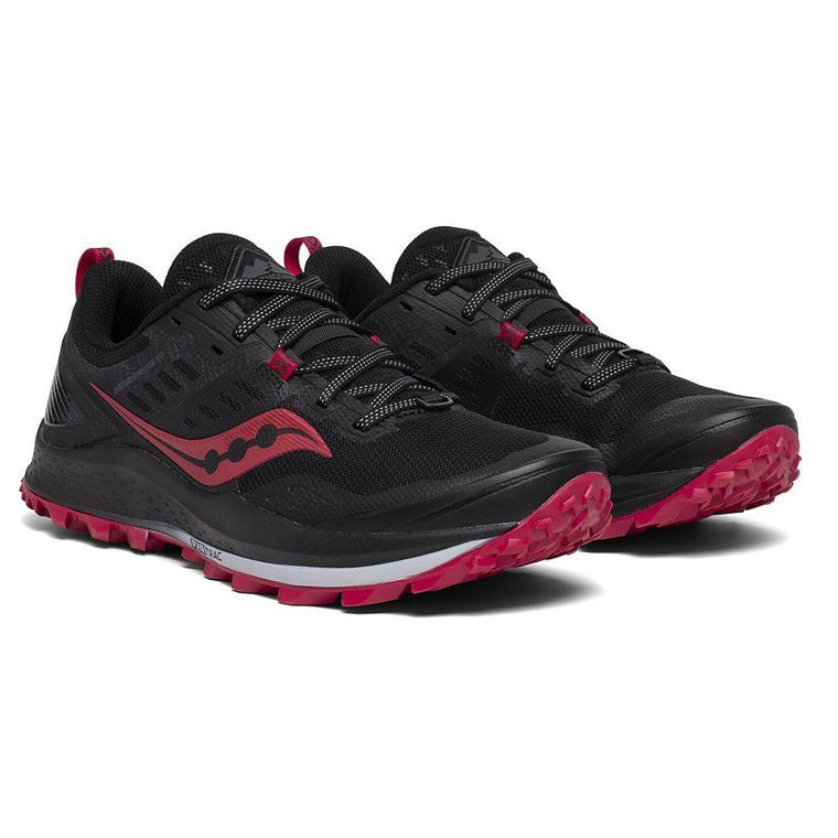 Saucony Women's Peregrine 10 Wide Trail Shoe - Black/Barberry