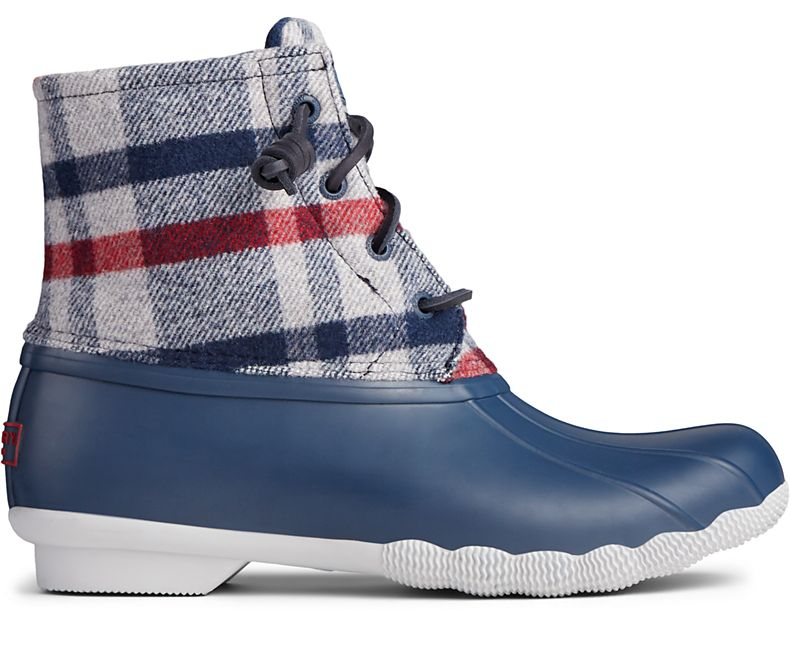 Sperry Women's Saltwater Wool Plaid Duck Boot - Ivory/Navy