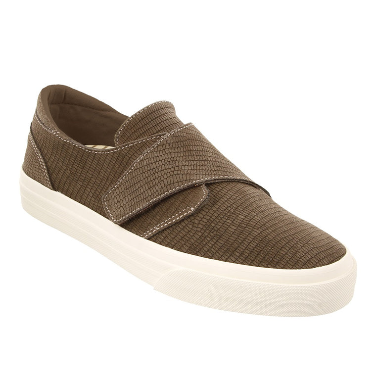 Women's Taos Soul Velcro Sneaker - Taupe Embossed Suede