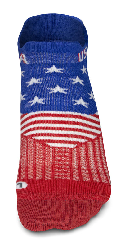 Feetures Elite Light Cushion No Show Tab Socks - Ltd. Edition USA Freedom Blue