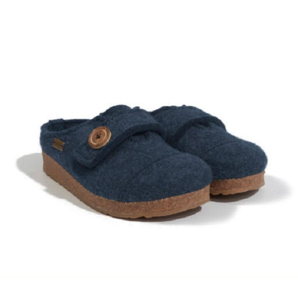 Haflinger Women's Hanna Boiled Wool Adjustable Clog - Denim