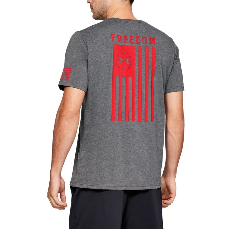 Men's Under Armour UA Freedom Flag Graphic T-Shirt - Charcoal Medium Heather
