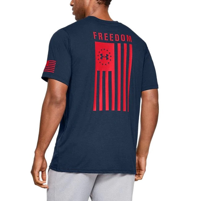Under Armour Men's UA Freedom Flag Graphic T-Shirt - Academy/Red