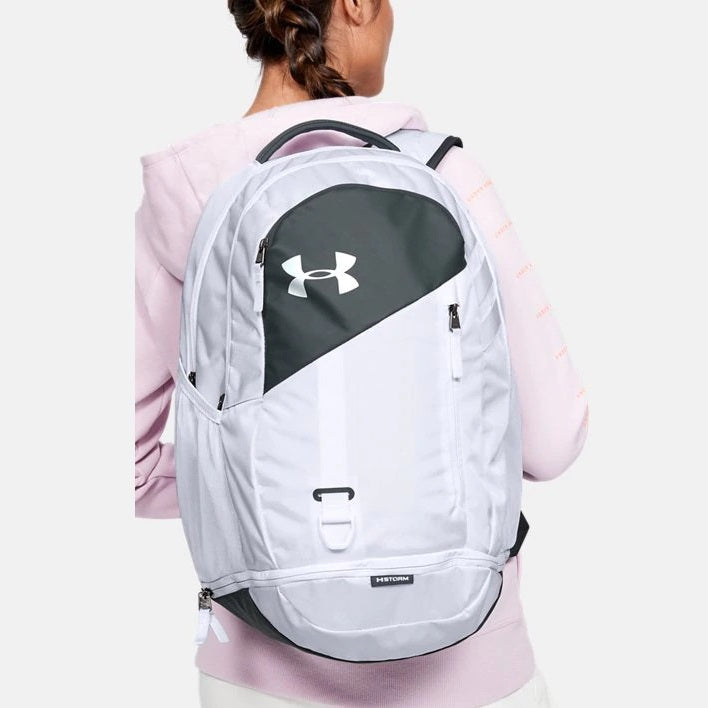 Under Armour UA Hustle 4.0 Backpack - White/Pitch Gray
