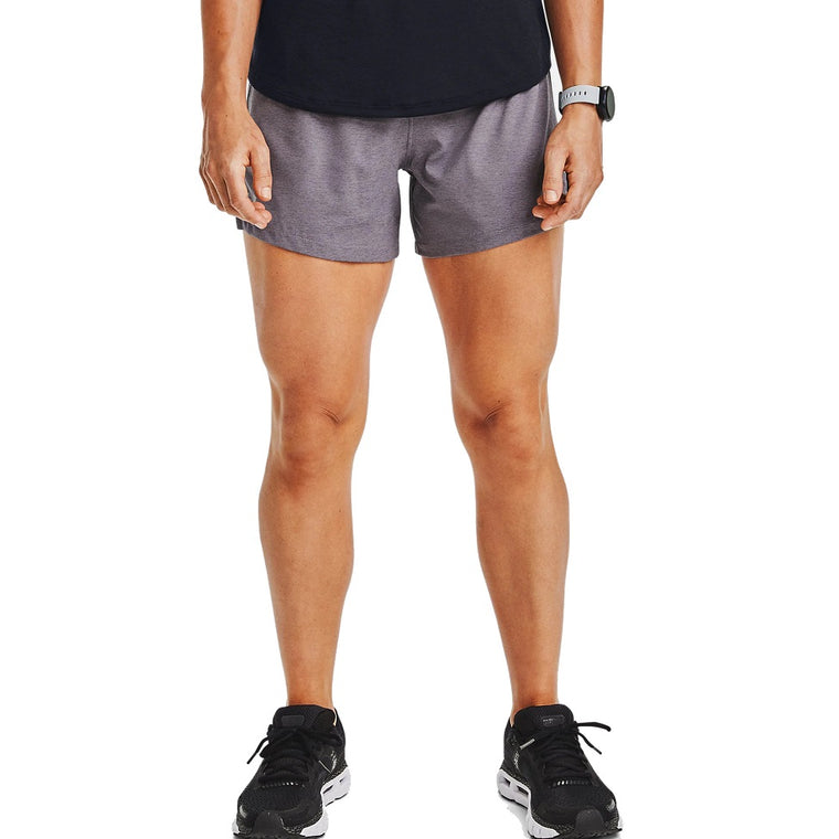 Under Armour Women's UA Launch SW ''Go Long'' Shorts - Blackout Purple Full Heather/Slate Purple/Reflective