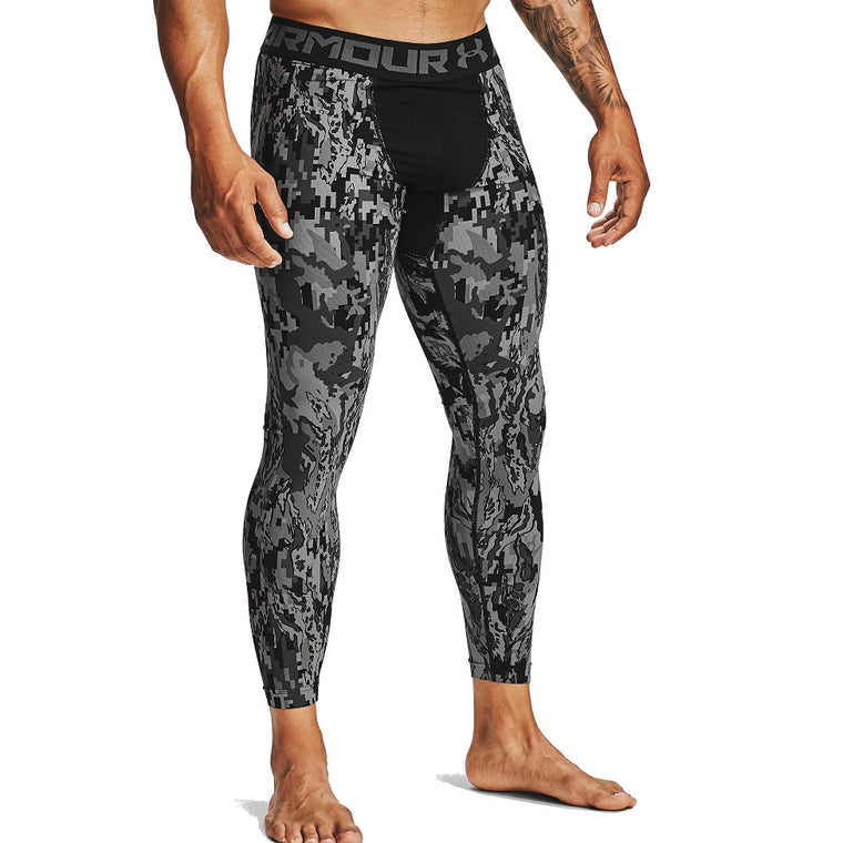 Under Armour Men's HeatGear Armour 2.0 Printed Leggings - Black/Halo Gray