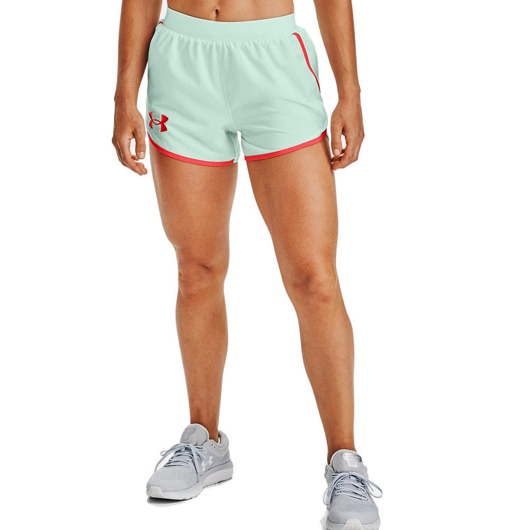 Under Armour Women's UA Fly By 2.0 Stunner Shorts - Seaglass Blue/White/Reflective