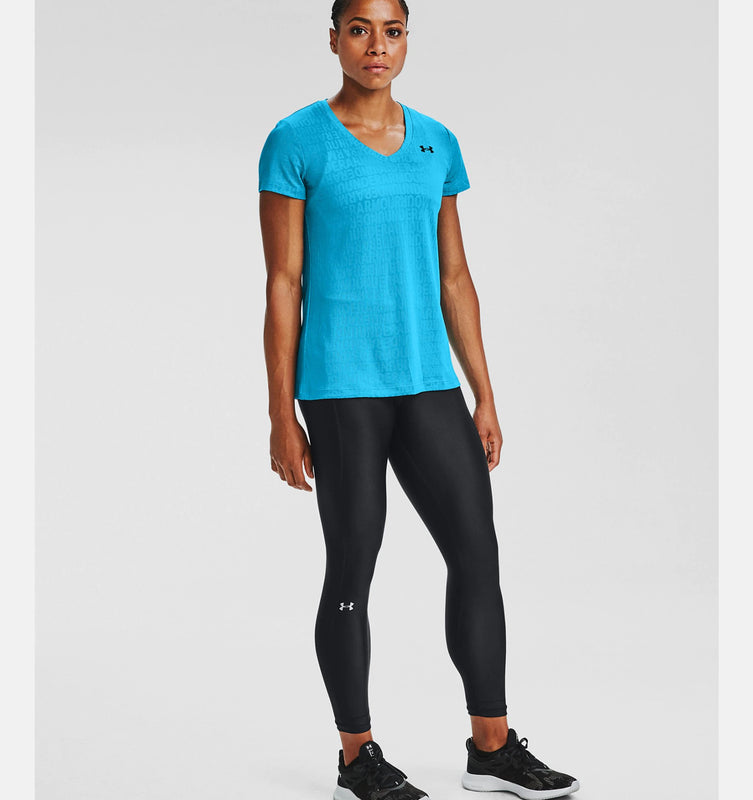Under Armour Women's UA Tech Wordmark Jacquard Short Sleeve V-Neck - Equator Blue/Black