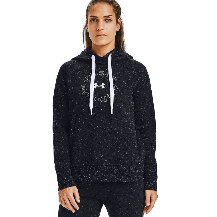 Under Armour Women's UA Rival Fleece Metallic Hoodie - Black/White