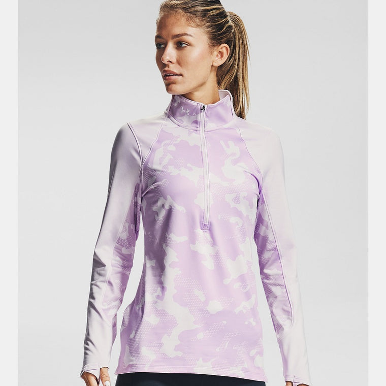 Under Armour Women's ColdGear Armour Camo ½ Zip - Crystal Lilac/White