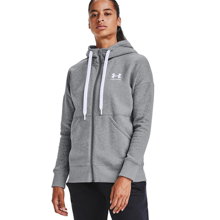 Under Armour Women's UA Rival Fleece Full Zip Hoodie - Steel Medium Heather/White