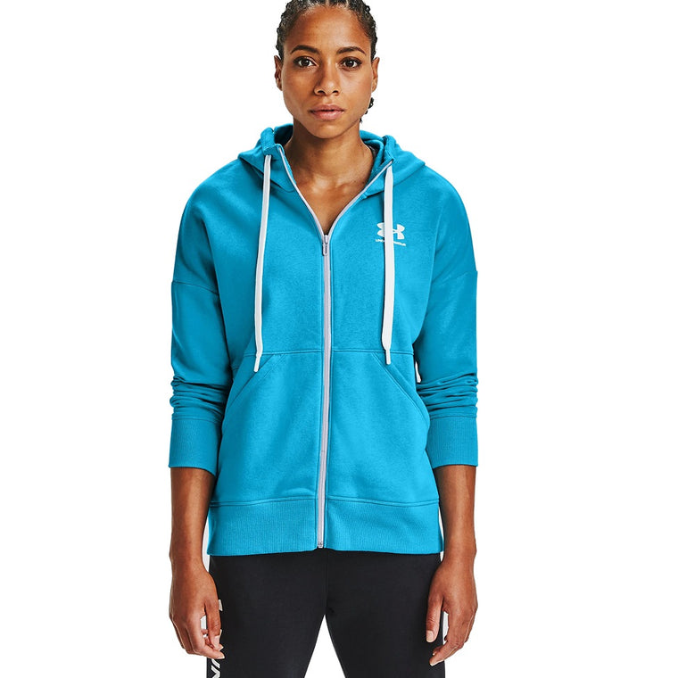 Under Armour Women's UA Rival Fleece Full Zip Hoodie - Equator Blue/White