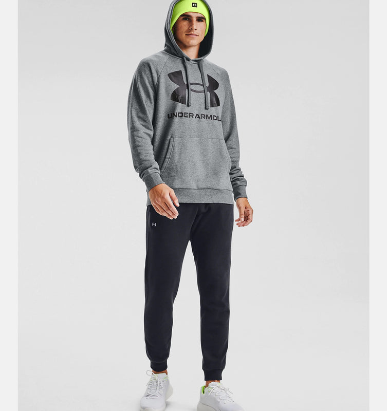 Under Armour Men's UA Rival Fleece Big Logo Hoodie - Pitch Gray Light Heather/Black