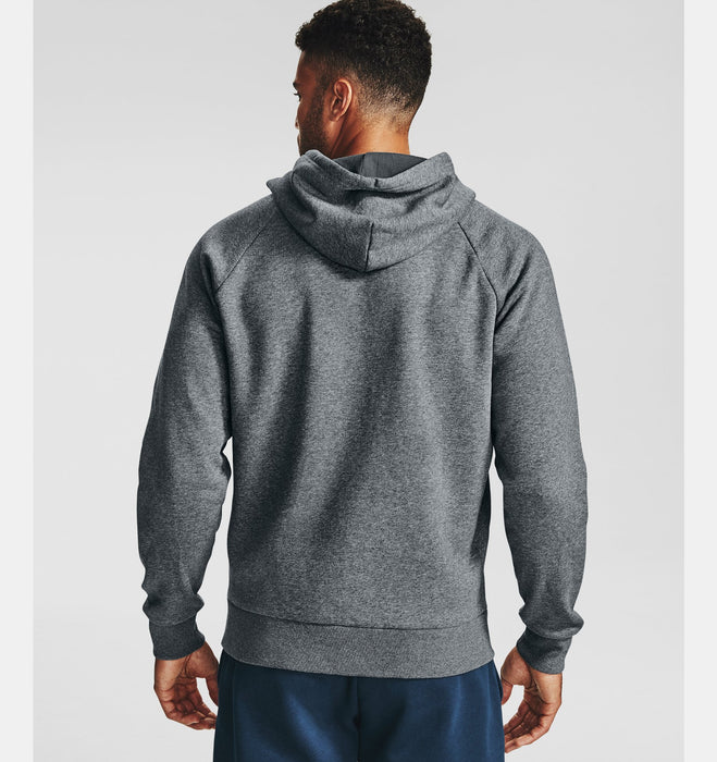 Under Armour Men's UA Rival Fleece Full Zip Hoodie - Pitch Gray Light Heather/Onyx White