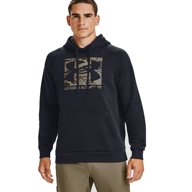 Under Armour Men's UA Rival Fleece Camo Logo Hoodie - Black/UA Barren Camo