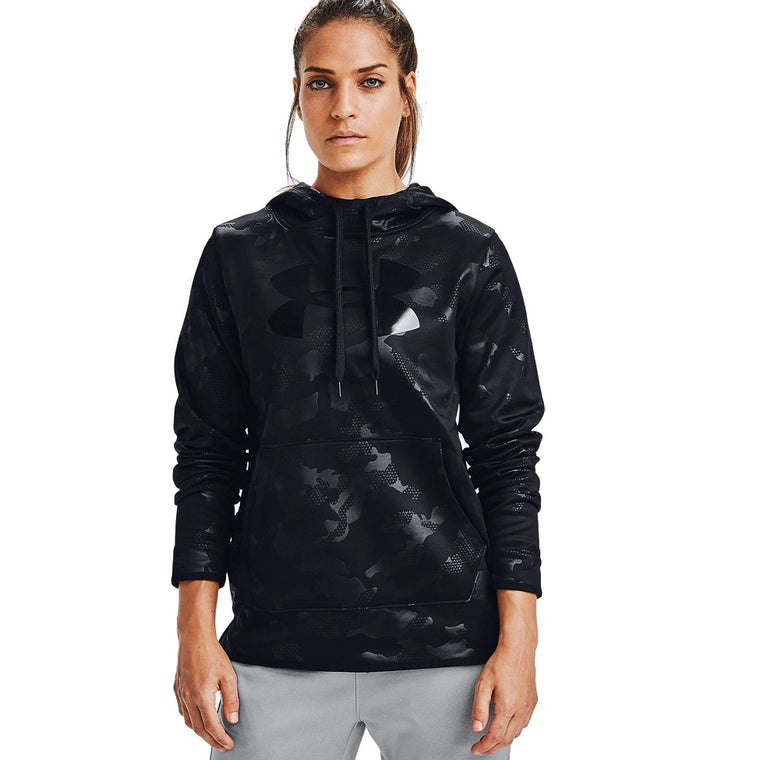 Under Armour Women's Armour Fleece Big Logo Camo Shine Hoodie - Black