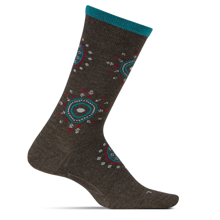 Feetures Women's Sunburst Ultra Light Crew Socks - Taupe