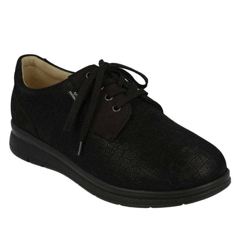 Women's Finn Comfort Chalon 5060 Lace Up - Black Nubuck/Stretch