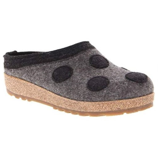 Haflinger Dotty Wool Felt Grizzly Clog - Grey