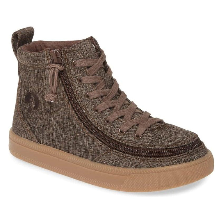 Kids' BILLY Footwear Classic Lace Zip High Top - Brown Jersey Linen
