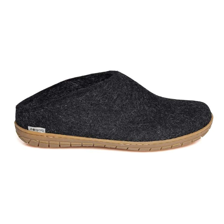 Glerups Open Heel with Rubber Sole Slipper - Charcoal