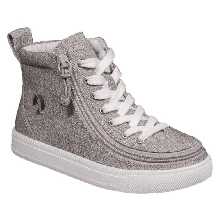 Kids' BILLY Footwear Classic Lace Zip High Top - Grey Jersey Canvas