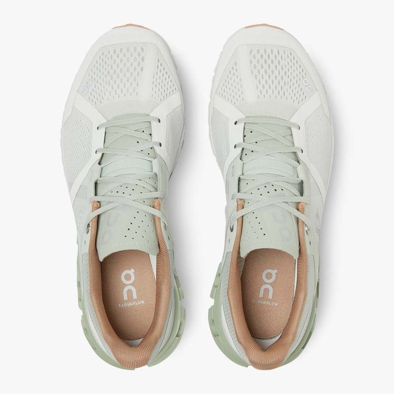 On Women's Cloudflow Running Shoes - Aloe/White