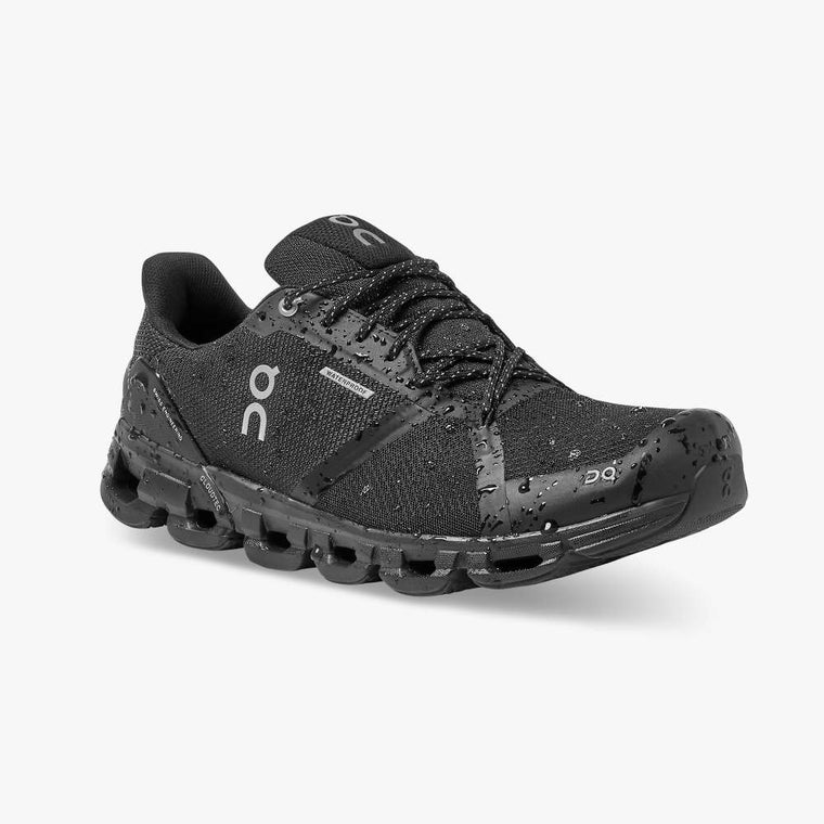 On Women's Cloudflyer Waterproof Running Shoes - Black/Lunar